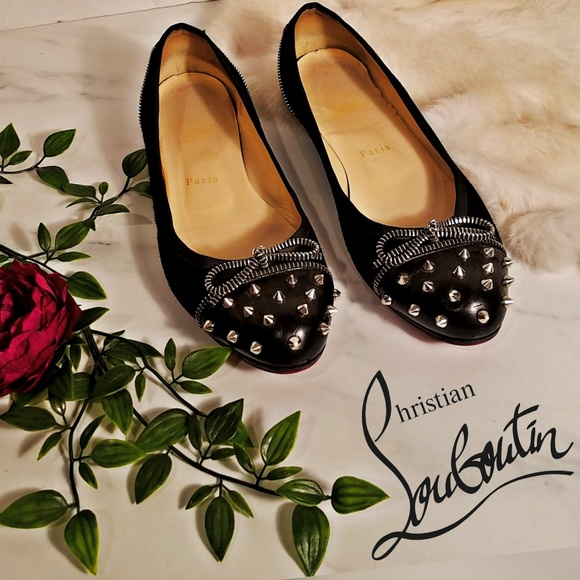 0da4f5dea22 Christian Louboutin Shoes - Christian louboutin spike cap flats suede  leather